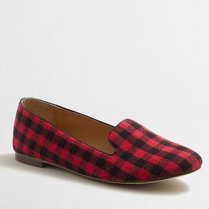 J Crew Red/Black Buffalo Plaid Loafers